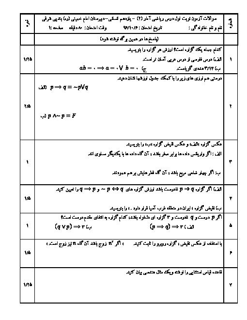 امتحان نوبت اول ریاضی و آمار (2) یازدهم رشته ادبیات و علوم انسانی دبیرستان امام خمینی بند پی شرقی | دی 96