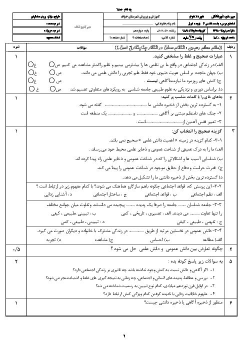 امتحان نیمسال اول جامعه شناسی (3) دوازدهم دبیرستان نور دانش   دی 98 (درس 1 تا 5)