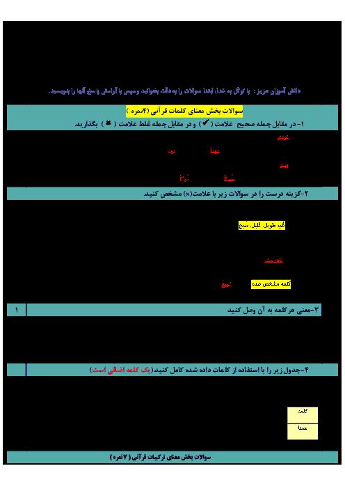 امتحان میان ترم دوم قرآن نهم دبیرستان شبانه روزی سهروردی | درس 8 تا 11