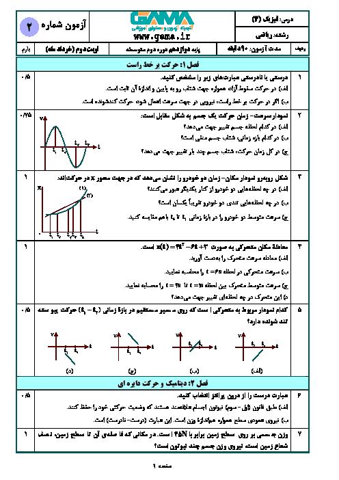 نمونه سوال امتحان نوبت دوم فیزیک دوازدهم رشته علوم ریاضی (سری 2) | خرداد 1398 + پاسخنامه تشریحی