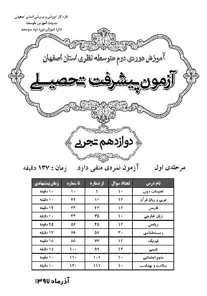 سوالات و پاسخ کلیدی آزمون پیشرفت تحصیلی پایه دوازدهم رشته تجربی استان اصفهان   مرحله اول (آذر 97)