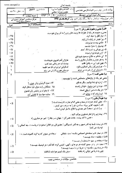 سوالات امتحان نهایی ادبیات فارسی تخصصی با پاسخنامه | خرداد 1392
