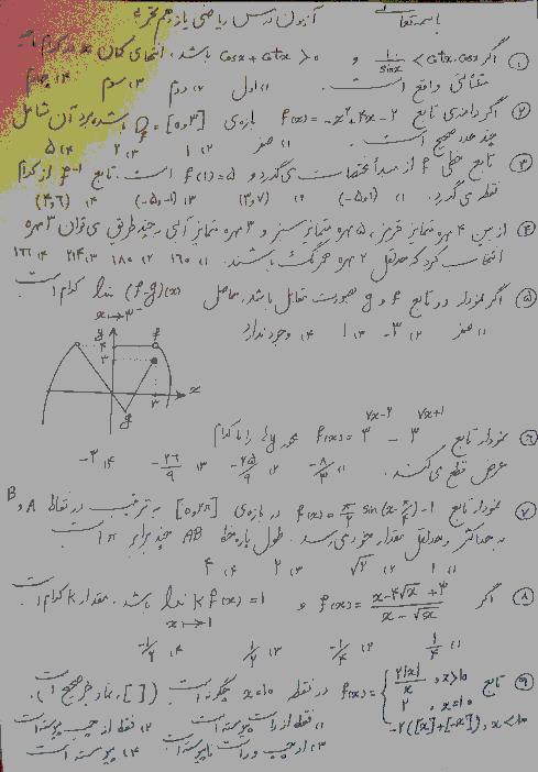 آزمون تستی نوبت دوم ریاضی (2) یازدهم تجربی دبیرستان نمونه خیامی | خرداد 1399