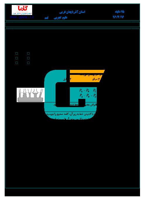 سوالات امتحان هماهنگ استانی نوبت دوم خرداد ماه 96 درس علوم تجربی پایه نهم | استان آذربایجان غربی