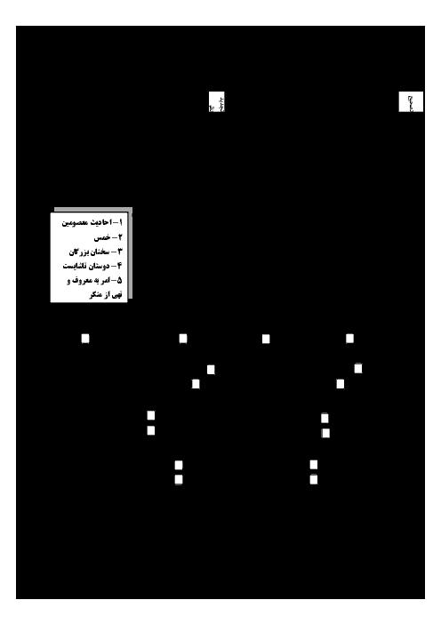 سؤالات امتحان هماهنگ استانی نوبت دوم پیامهای آسمان پایه نهم (مناطق گرمسیری) استان فارس | اردیبهشت 1398 + پاسخ