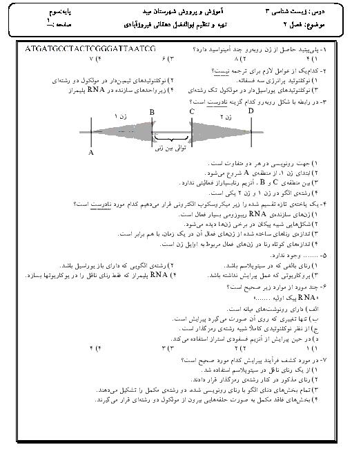 سؤالات تستی زیست شناسی (3) دوازدهم دبیرستان شاهدالعلوم | فصل ۳: جریان اطلاعات در یاخته