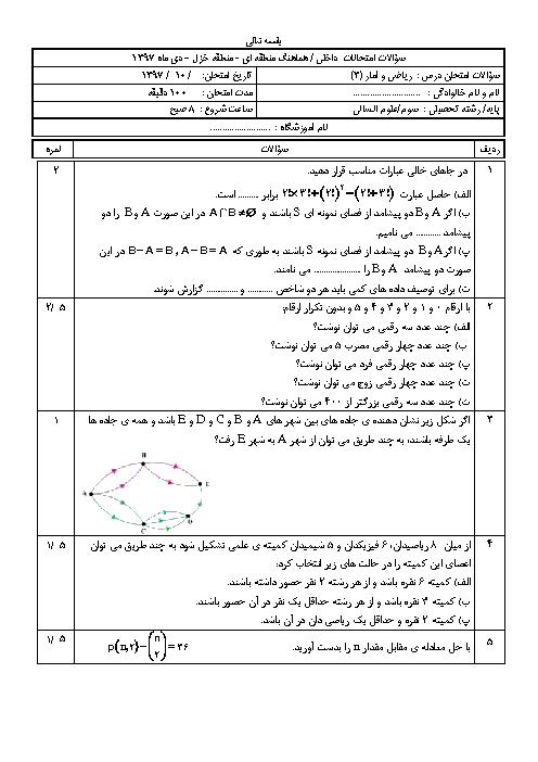آزمون هماهنگ نوبت اول ریاضی و آمار (3) دوازدهم انسانی ناحیه خزل   دی 1397 + پاسخ