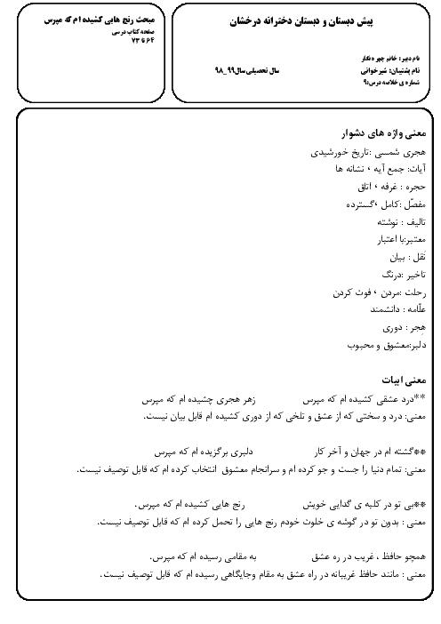 تاریخ ادبیات، معنی واژه ها، املا، معنی ابیات و آزمونک فارسی ششم ابتدائی | درس 9 تا پایان کتاب