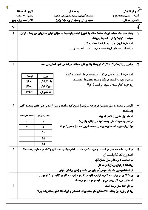 آزمون های ریاضی (1) دهم هنرستان فنی پیامبر اعظم | پودمان 1، پودمان 3 و 4