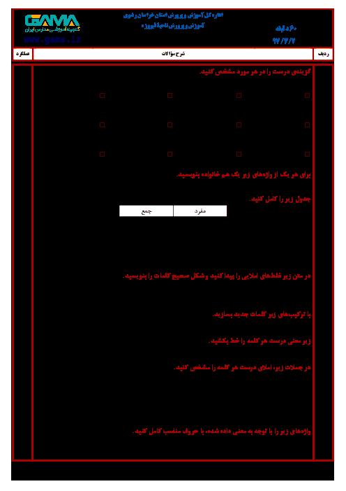 سؤالات امتحان هماهنگ نوبت دوم املای فارسی پایه ششم ابتدائی مدارس ناحیۀ فیروزه | خرداد 1397