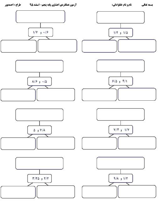تمرین عملکردی ریاضی پنجم دبستان    فصل 5: جمع و تفریق عددهای اعشاری