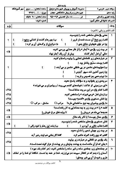 سوالات امتحان نوبت دوم فارسی (1) پایۀ دهم دبیرستان حجاب دزفول - خرداد 96