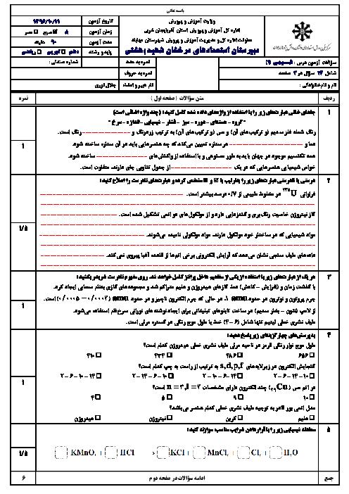 سوالات امتحان نوبت اول شیمی (1) دهم دبیرستان استعدادهای درخشان شهید بهشتی مهاباد + جواب | دی 96