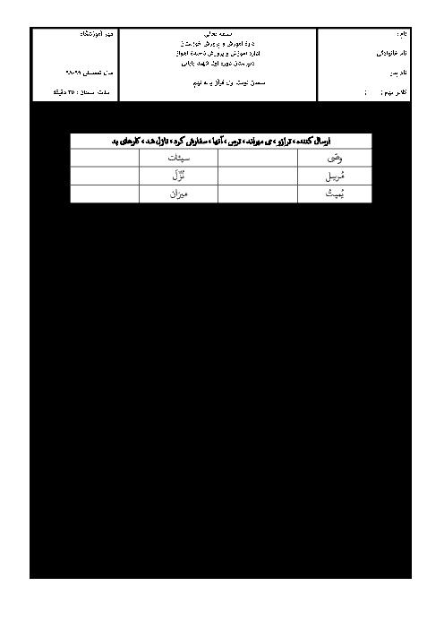 آزمون پایانی ترم اول قرآن نهم مدرسه شهید بابایی | دی 98