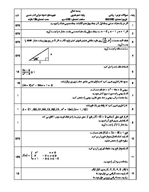 امتحان ترم دوم ریاضی دهم دبیرستان امام خمینی پارسیان   خرداد 1398