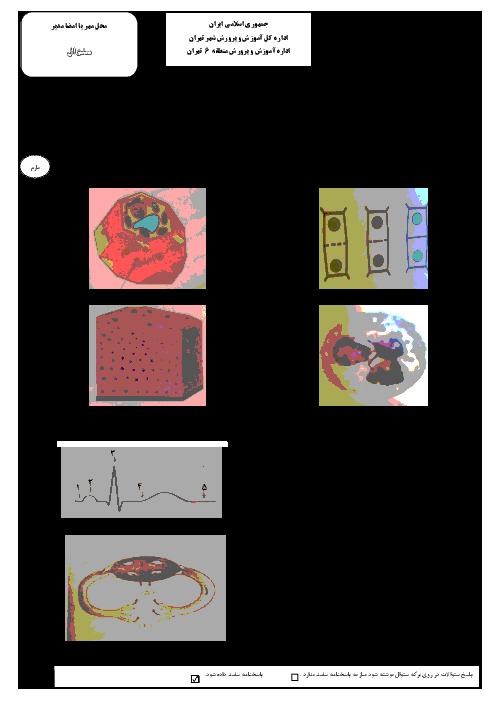 آزمون نوبت دوم زیست شناسی (1) رشته تجربی پایه دهم دبیرستان البرز نو منطقۀ 6 تهران | خرداد 96 + پاسخ