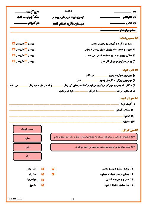 آزمون نوبت دوم علوم تجربی چهارم دبستان باقریه اسلام قلعه | اردیبهشت 96