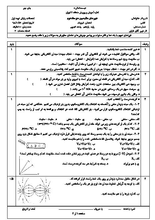 آزمون نوبت اول فیزیک (2) یازدهم دبیرستان سلام مبین | دی 1398