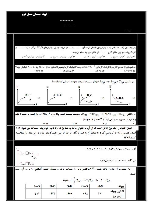 امتحان فصل دوم شیمی (2) یازدهم دبیرستان امام خمینی منطقه افشار | در پی غذای سالم