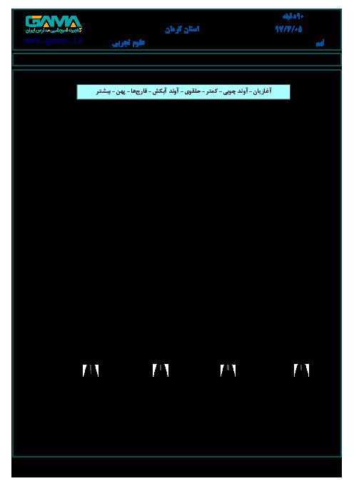 امتحان هماهنگ استانی علوم تجربی پایه نهم نوبت دوم (خرداد ماه 97) | استان کرمان