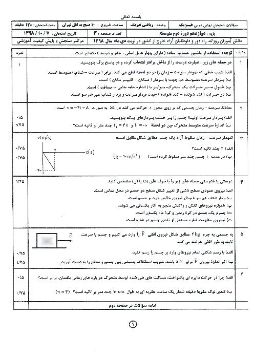 سوالات امتحان نهایی فیزیک (3) دوازدهم رشته ریاضی هماهنگ مدارس خارج از کشور | نوبت دی 1398