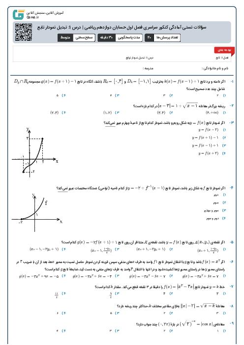 سؤالات تستی آمادگی کنکور سراسری فصل اول حسابان دوازدهم ریاضی | درس 1: تبدیل نمودار تابع