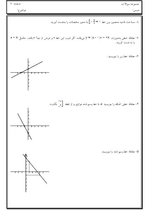 مجموعه سوالات فصل 6 ریاضی نهم |  خط و معادلههای خطی + پاسخ