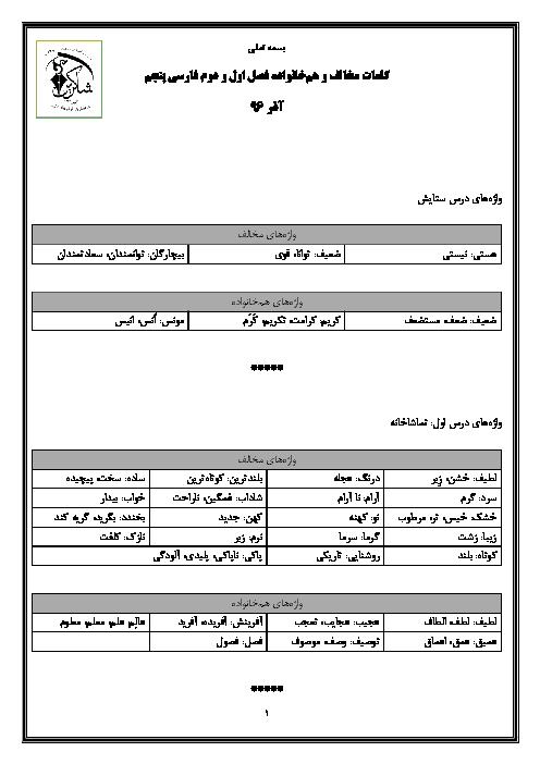 واژههای مخالف و هم خانواده فارسی پنجم دبستان  |درس 1 تا 5 درس