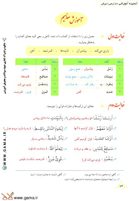 گام به گام آموزش قرآن نهم | پاسخ فعالیت ها و انس با قرآن درس 7: جلسه اول (سوره حدید)