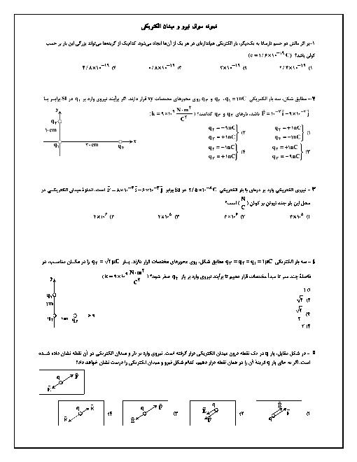 تست های کنکوری فیزیک (2) یازدهم | نیرو و میدان الکتریکی