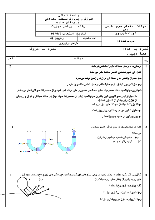 آزمون نوبت دوم شیمی (1) دهم دبیرستان صائب | شهریور 1398