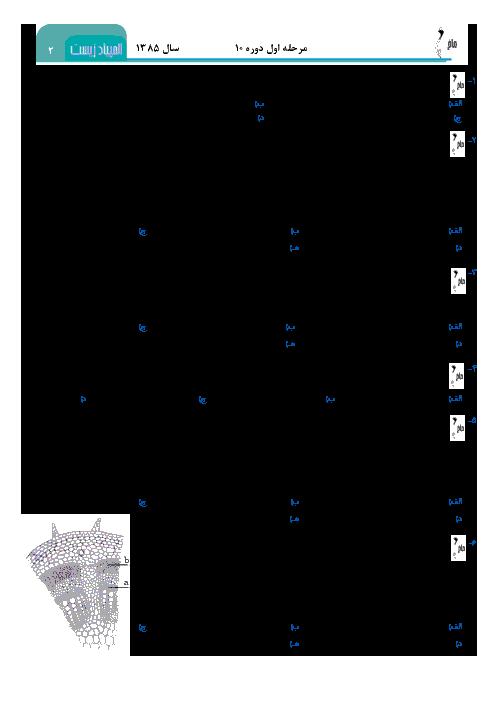 آزمون مرحله اول دهمین المپیاد زیست شناسی کشور + پاسخ کلیدی   بهمن 1385