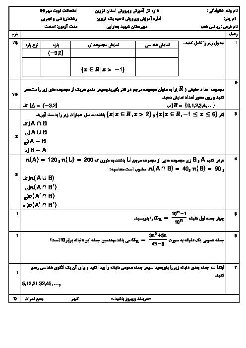 امتحان نوبت مهر ریاضی دهم دبیرستان شهید محمد بخارائی قزوین | فصل 1