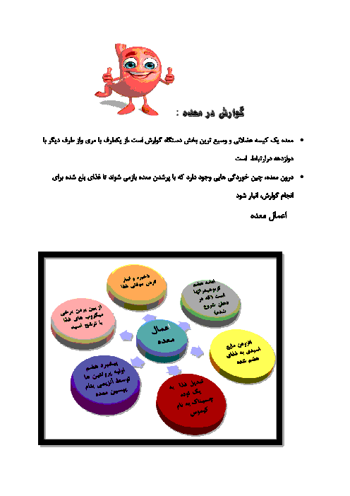 جزوه جمعبندی زیست شناسی (1) دهم رشته تجربی | فصل دوم - گفتار 2: ساختار و عملکرد لولۀ گوارش
