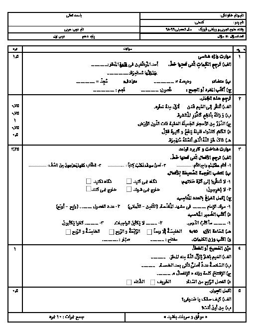 آزمون درس 1 عربی دهم دبیرستان طلوع امید   ذاكَ هوَ اللّٰهُ