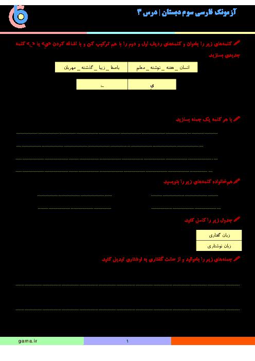 آزمونک فارسی سوم دبستان | درس 3: آسمان آبی، طبیعت پاک