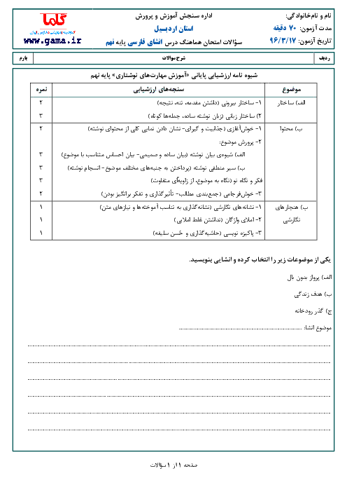 امتحان هماهنگ استانی نوبت دوم خرداد ماه 96 درس انشا فارسی پایه نهم | استان اردبیل