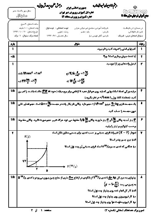 آزمون نیمسال اول فیزیک دهم تجربی دبیرستان مدرس | دیماه 96