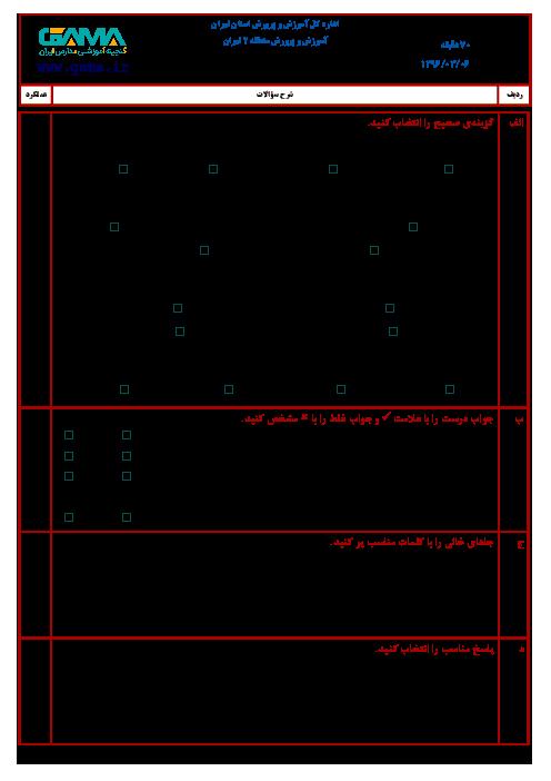 سؤالات امتحان هماهنگ نوبت دوم مطالعات اجتماعی ششم ابتدائی مدارس منطقه 2 تهران | خرداد 1396 + پاسخ
