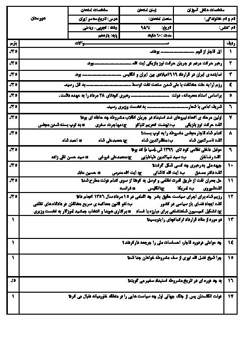 آزمون جبرانی نوبت دوم تاریخ معاصر ایران یازدهم دبیرستان شهید علی یوسفی | شهریور 1396