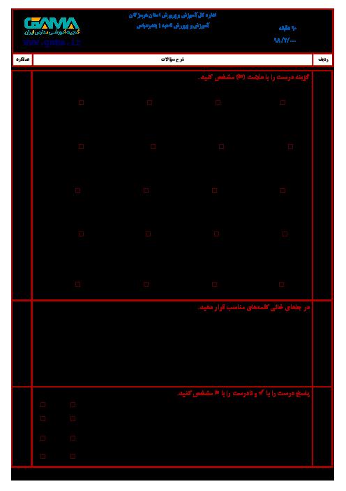 آزمون نوبت دوم ریاضی ششم هماهنگ ناحیه 1 بندرعباس | اردیبهشت 1398