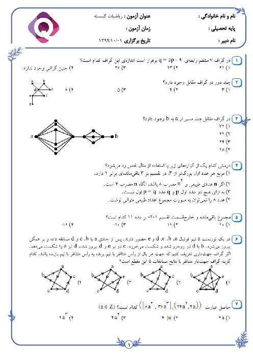 امتحان تستی ترم اول ریاضیات گسسته دوازدهم دبیرستان نمونه خیامی قائن | دی 1399