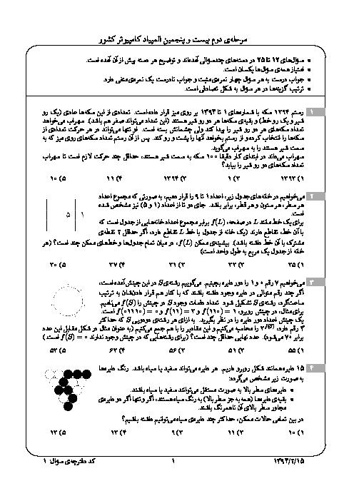 آزمون مرحله دوم بیست و پنجمین المپیاد کامپیوتر کشور با پاسخ تشریحی | اردیبهشت 1394