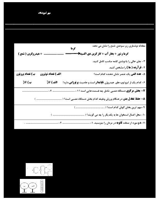 آزمون نوبت دوم علوم تجربی هشتم مدرسه حافظ | اردیبهشت 1396