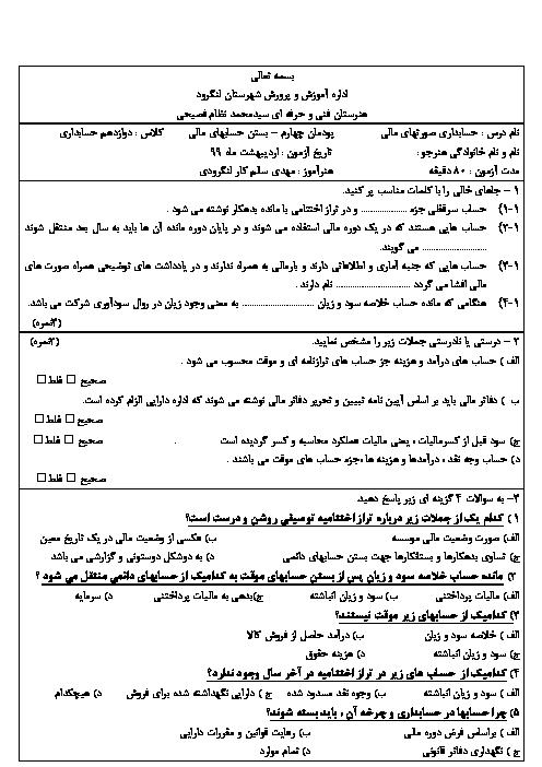 امتحان حسابداری تهیه و تنظیم صورتهای مالی دوازدهم هنرستان حاج سید نظام فصیحی   پودمان 4: بستن حسابهای مالی