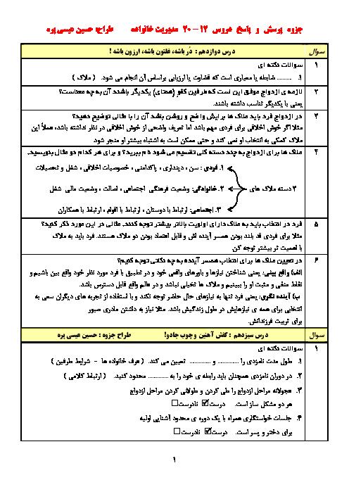 جزوه پرسش و پاسخ مدیریت خانواده و سبک زندگی دوازدهم | درس 12 تا 20