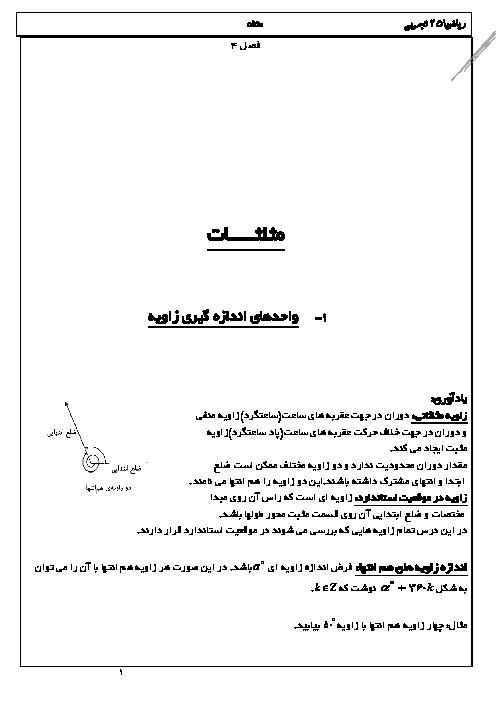 جزوه و تمرین های تکمیلی ریاضی (2) یازدهم تجربی   فصل 4 (مثلثات)