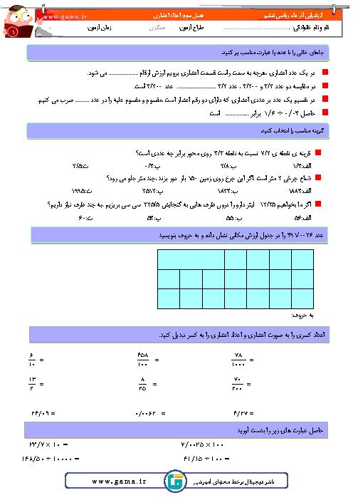 ارزشیابی ریاضی ششم دبستان شهید حمید زرگوشی | فصل 3: اعداد اعشاری + پاسخ