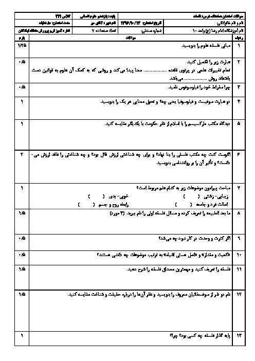 سوالات امتحان نوبت اول فلسفه پایه یازدهم رشته انسانی | دبیرستان امام رضا (ع) واحد 10 منطقه تبادکان