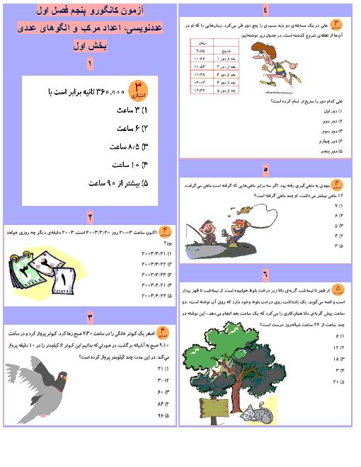 مجموعه سوالات کانگورو ریاضی پنجم دبستان با پاسخ تشریحی | فصل 1: عدد نویسی و الگوها